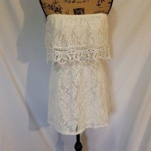 Socialite Strapless Mini Lace Dress Size Small